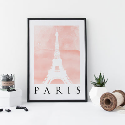 Travel Poster - PARIS - Watercolour Eiffel Tower Print