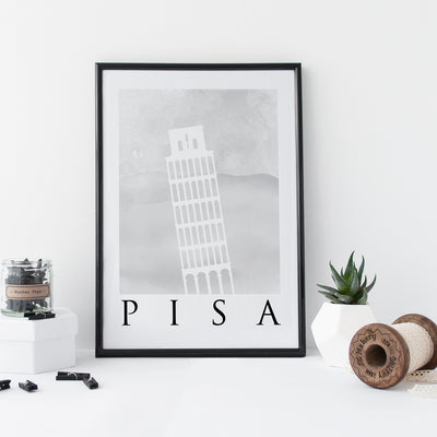 Travel Poster - PISA - Watercolour Leaning Tower Print