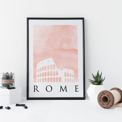 Travel Poster - Rome - Watercolour Colosseum Print