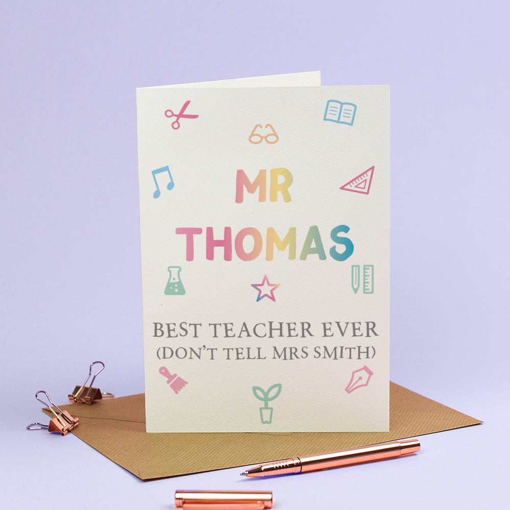 Personalised Thank you Teacher Card - Best Teacher Ever (Don't tell the Head)