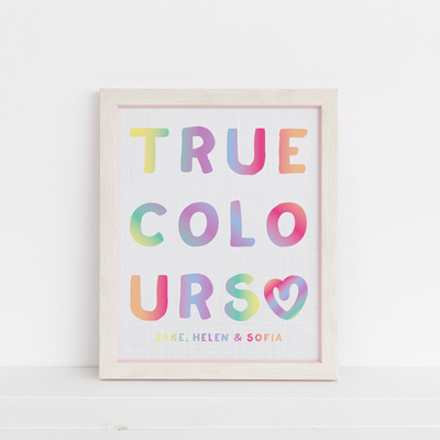 True Colours Rainbow Plain or Personalised Family Print