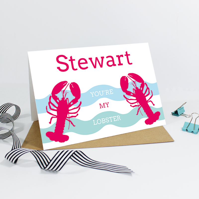 You're My Lobster {Waves Version} Card - EivisSa Kind Designs - Weddings Invitations and Stationery, West Midlands