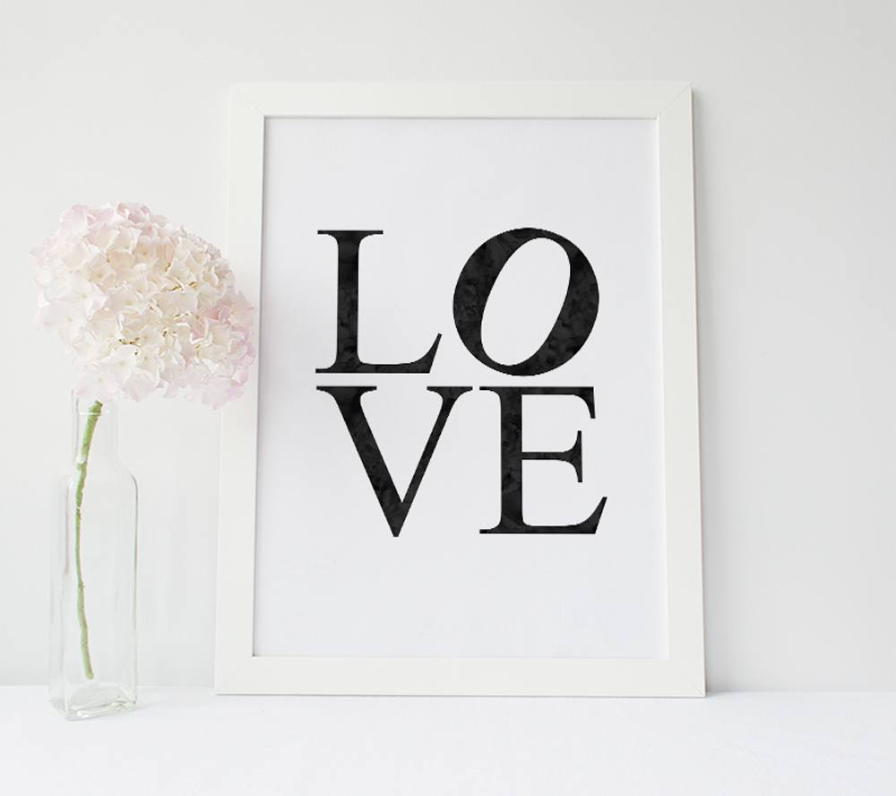 Inspirational Poster - LOVE Poster // LOVE Print - Watercolour Type Quote Poster
