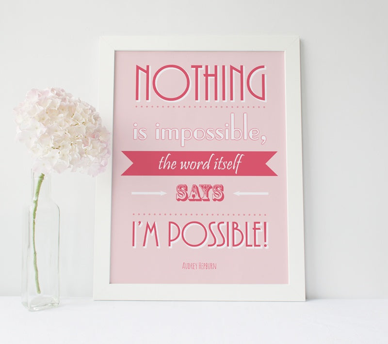 "Inspirational Poster ""Nothing is impossible, the word itself says 'I'm possible'!""  Audrey Hepburn"