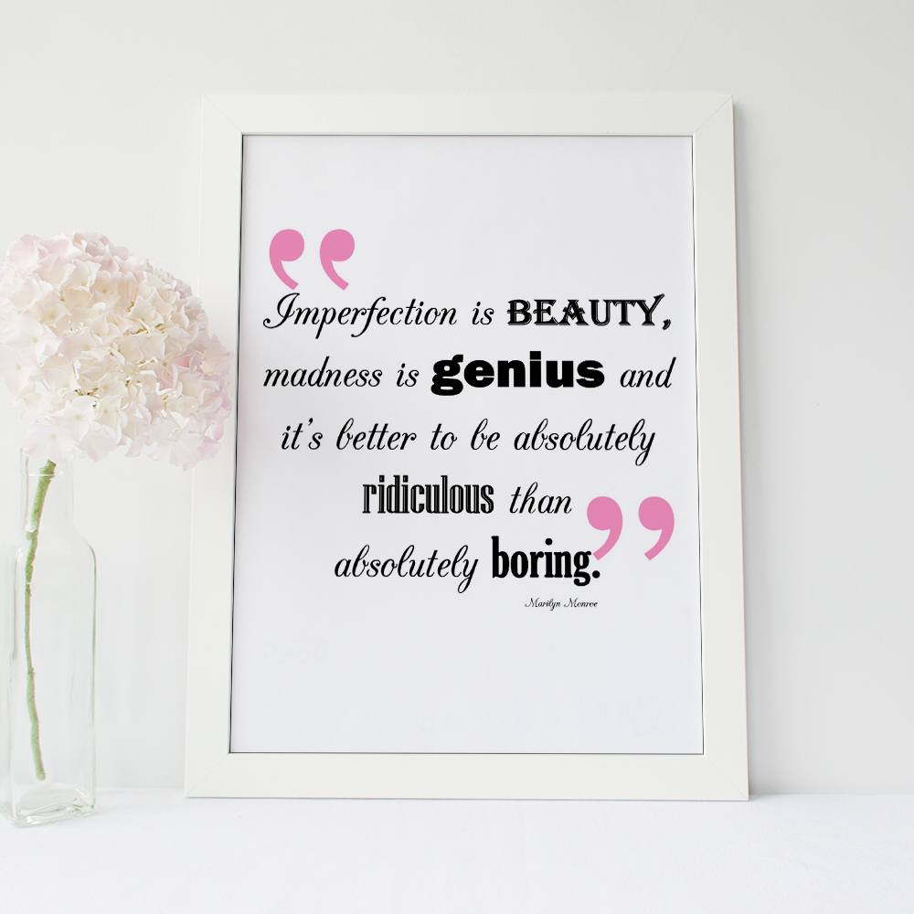 A3 Poster - Inspirational Quote Poster - Marilyn Monroe
