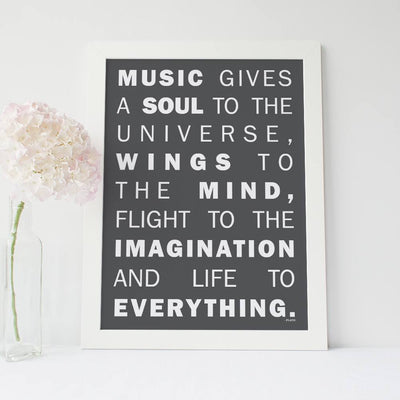 "Inspirational Quote Poster - ""Music gives a soul to the universe"" - Plato"