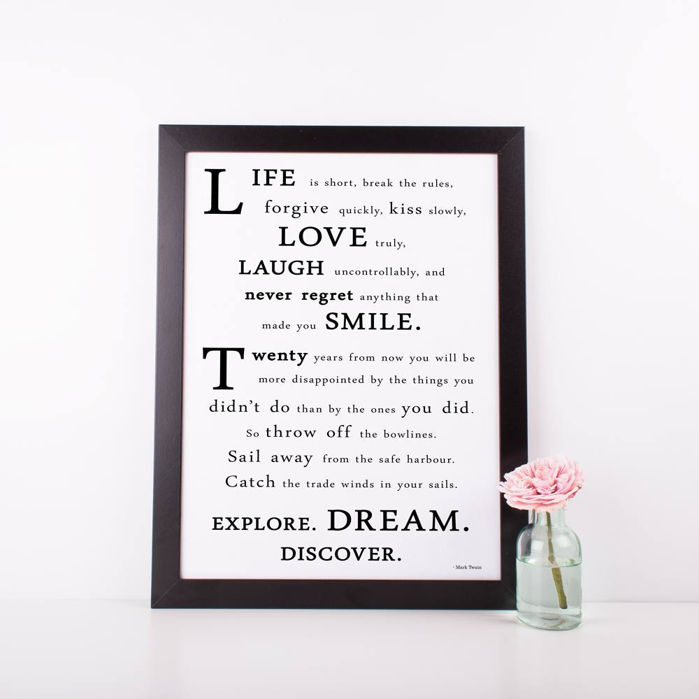 "A3 Poster - ""Life Is Short, Break The Rules"" Inspirational Quote Poster - Mark Twain"
