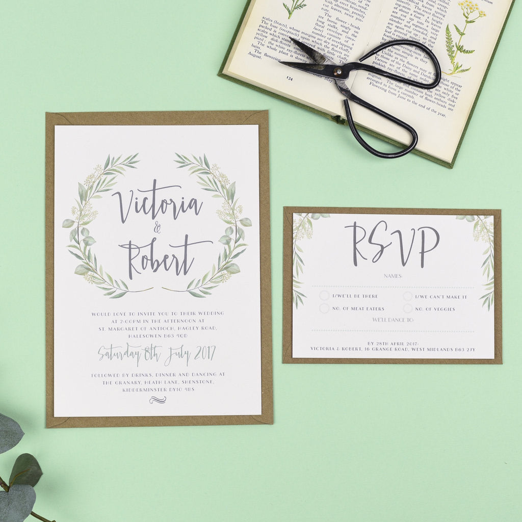 A5 Wedding Invitation - Aisling Eucalyptus Wedding Invitations