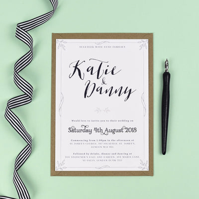 Alexa Monochrome Silhouette Wedding Invitation