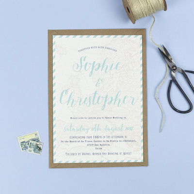 Athena Vintage Map Destination Wedding Invitations