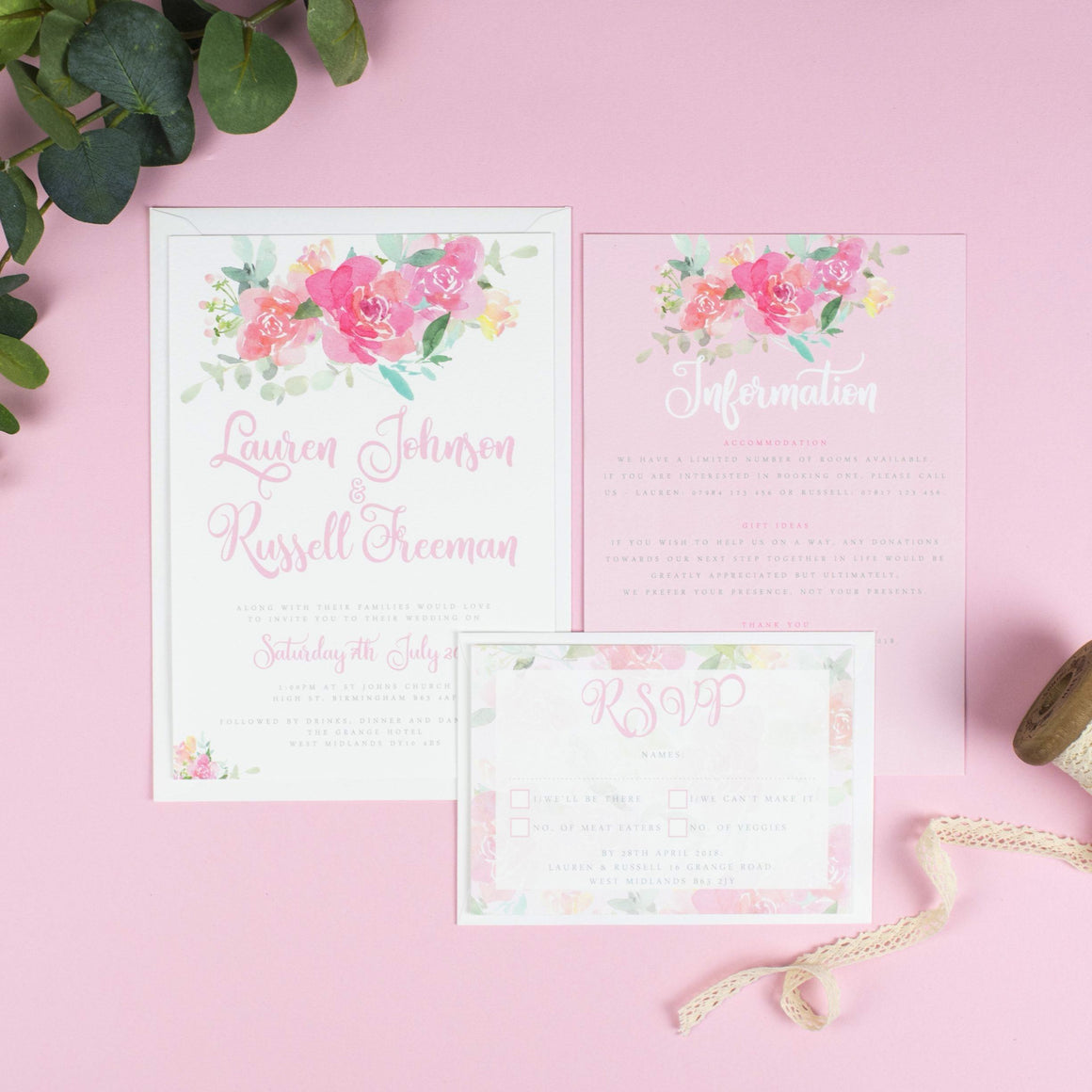 A5 Wedding Invitation - Blossom Watercolour Flowers Wedding Invitations