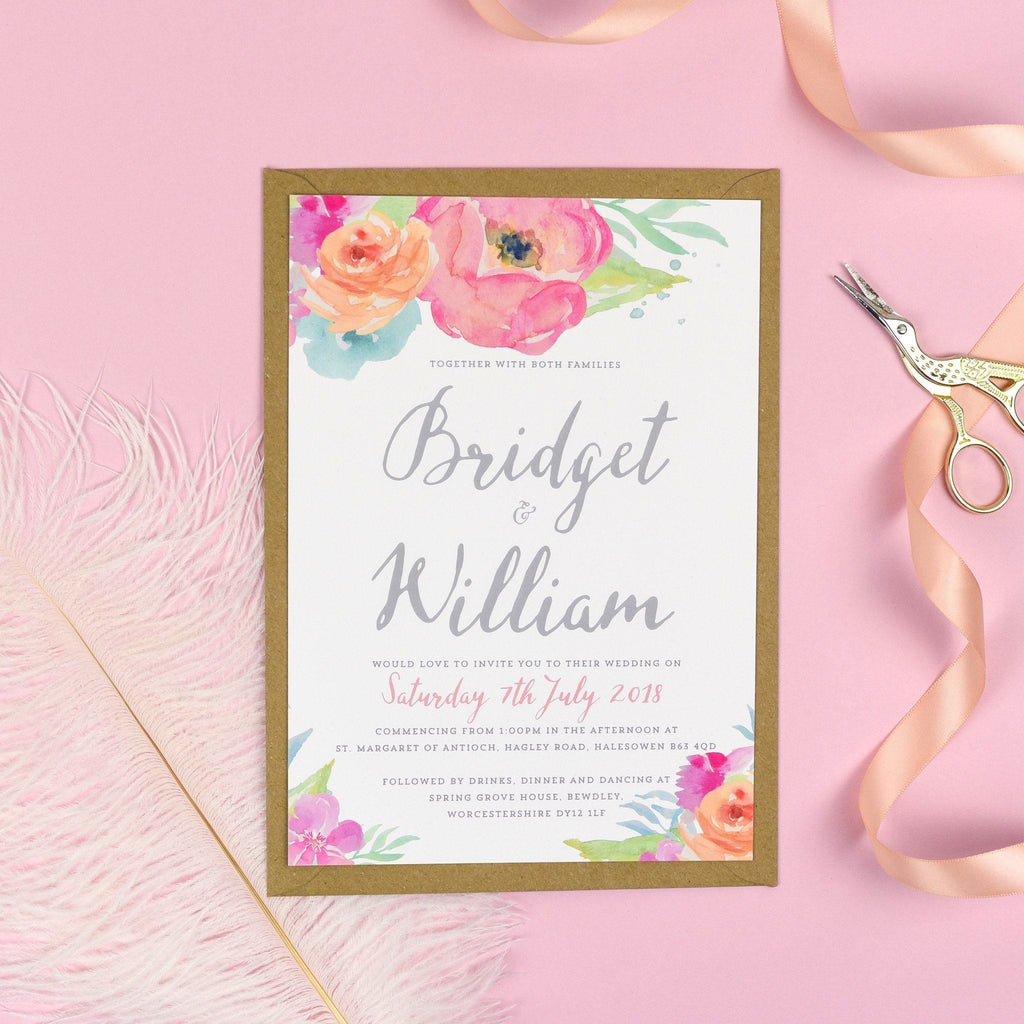 A5 Wedding Invitation - Bridget Watercolour Flowers Wedding Invitations