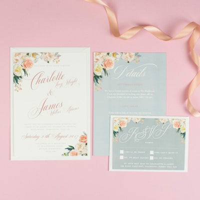 Charlotte Pretty Floral Wedding Invitations