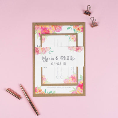 Christine Watercolour Flowers Wedding Invitations