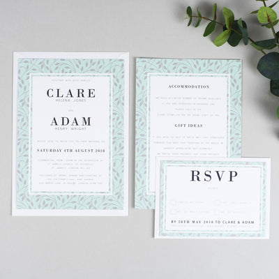 Clare Vine Pattern Wedding Invitations