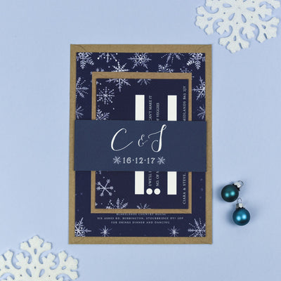Eve Christmas Snowflake Winter Wedding Invitations