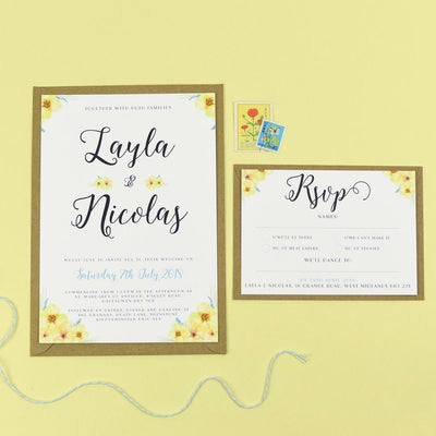 Layla Spring Florals Wedding Invitations