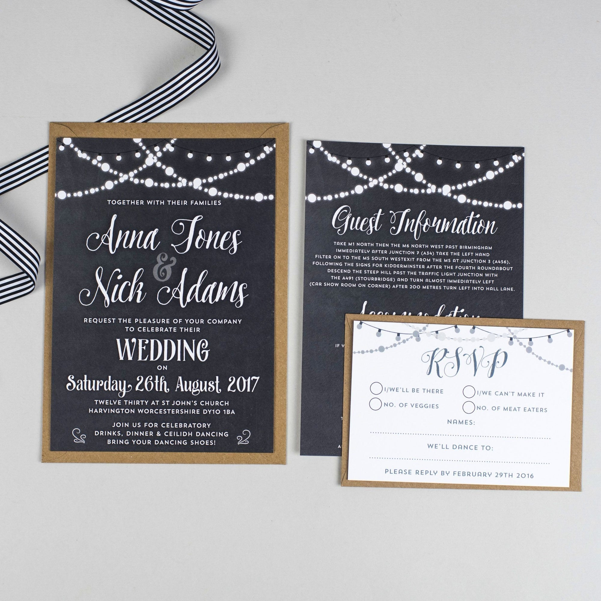 Lizzie Chalkboard Fairy Lights Wedding Invitation