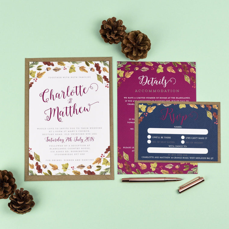 A5 Wedding Invitation - Octavia Autumnal Wedding Invitations
