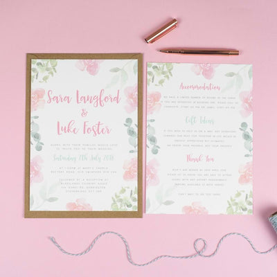 Rose Leafy Floral Wedding Invitations