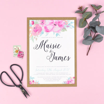 Selena Watercolour Flowers Wedding Invitations