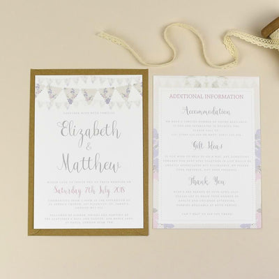 Violet Vintage Bunting Wedding Invitations