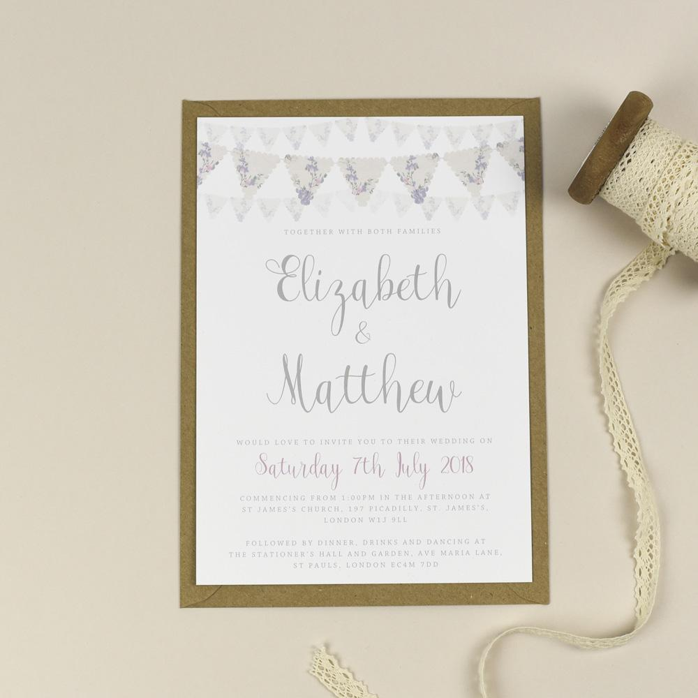 Violet Vintage Bunting Wedding Invitations EivisSa Kind Designs