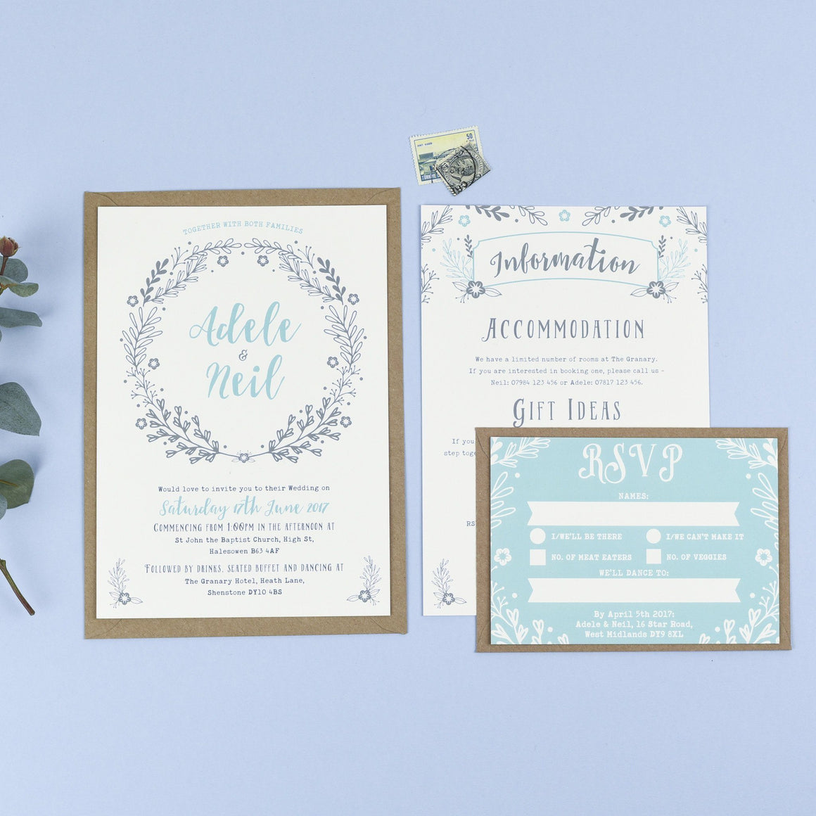 A5 Wedding Invitation - Willow Rustic Wreath Wedding Invitations