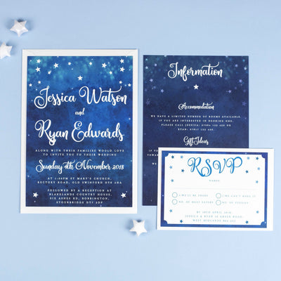 Yvaine Starry Night Sky Celestial Wedding Invitations