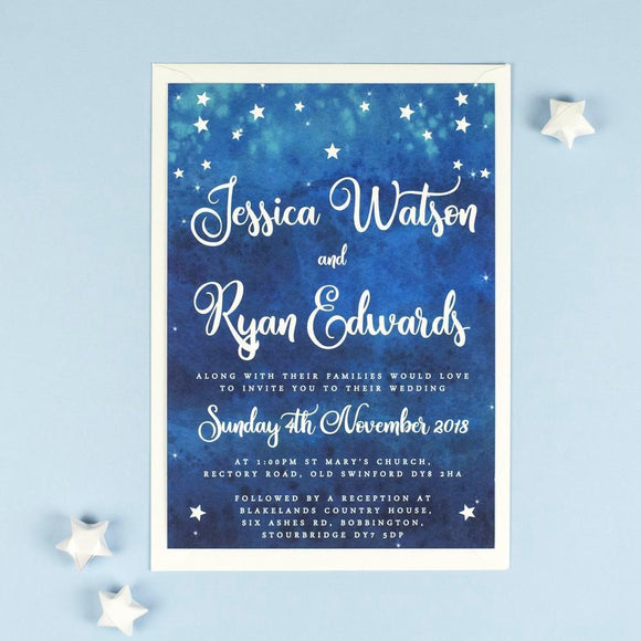 A5 Wedding Invitation - Yvaine Starry Night Sky Wedding Invitations
