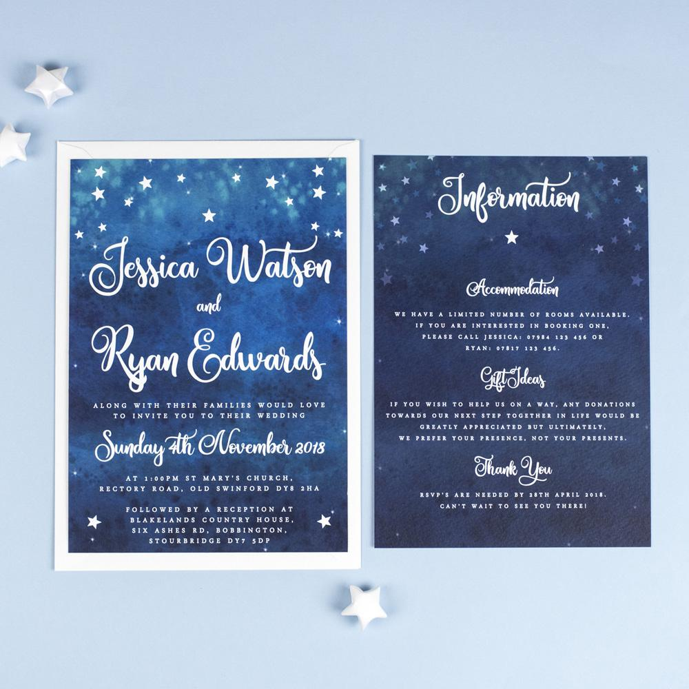 Exceptional Yvaine Starry Night Sky Celestial Wedding Invitations