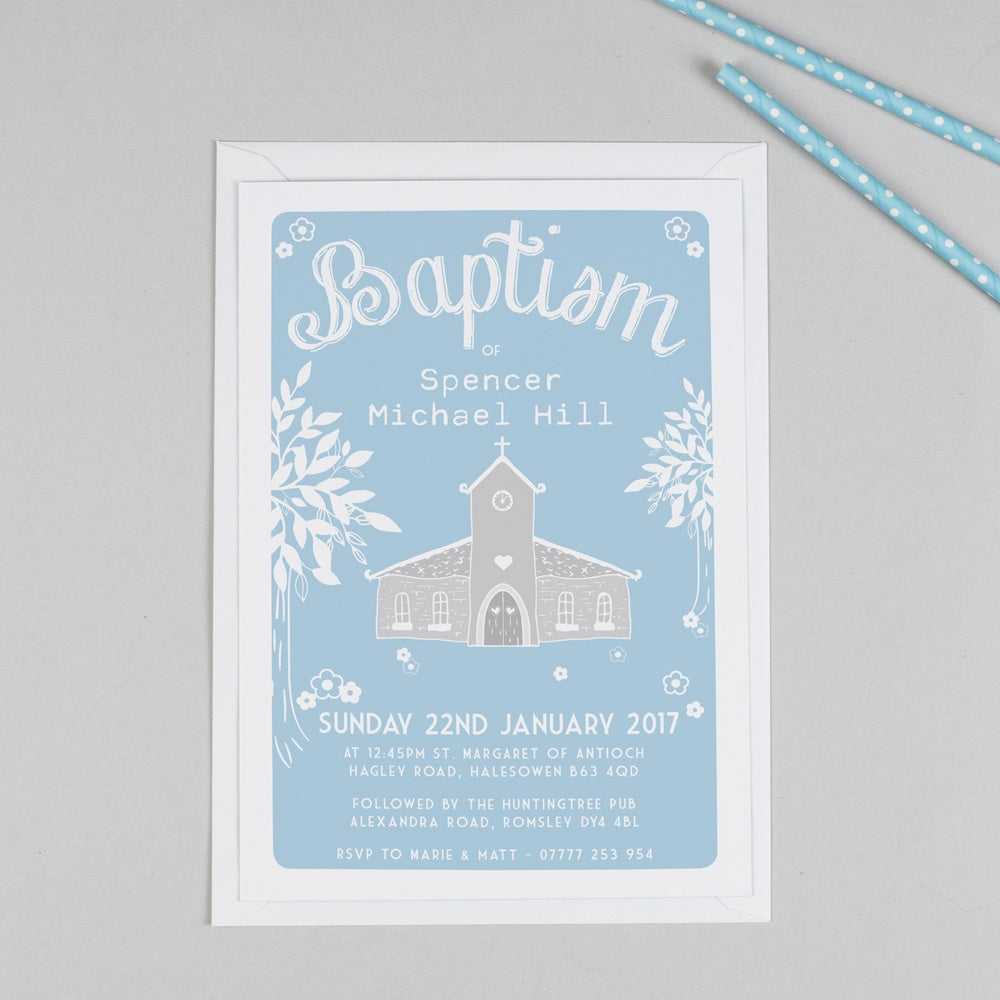 Personalised Church Christening or Baptism Invitation - Blue