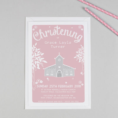 Personalised Church Christening or Baptism Invitation - Pink