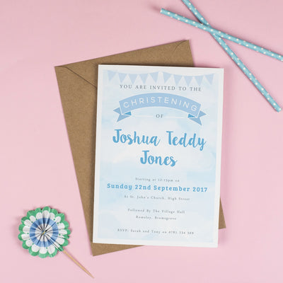 Personalised Clouds and Bunting Christening or Baptism Invitation - Blue
