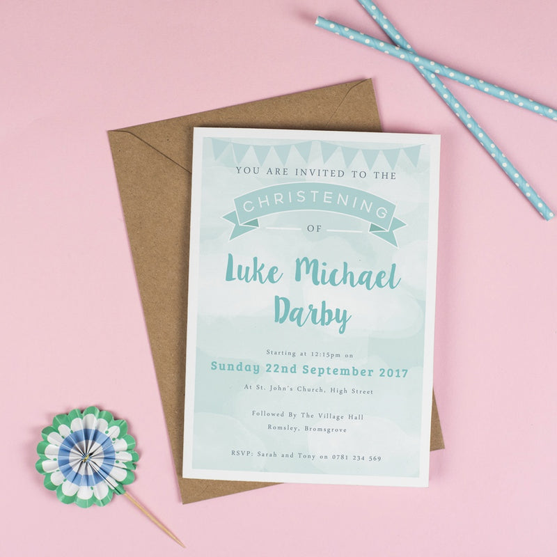 Personalised Clouds and Bunting Christening or Baptism Invitation - Green