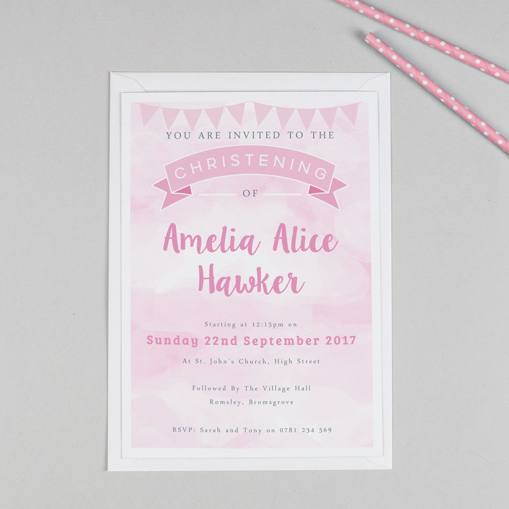 Personalised Clouds and Bunting Christening or Baptism Invitation - Pink