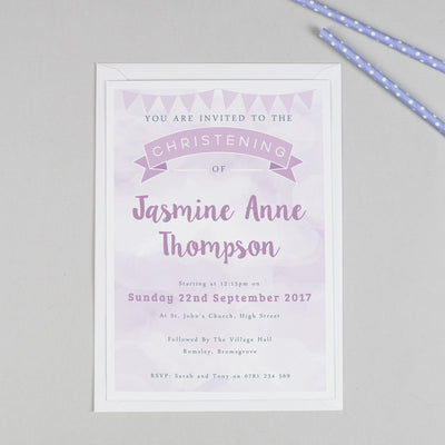Personalised Clouds and Bunting Christening or Baptism Invitation - Purple