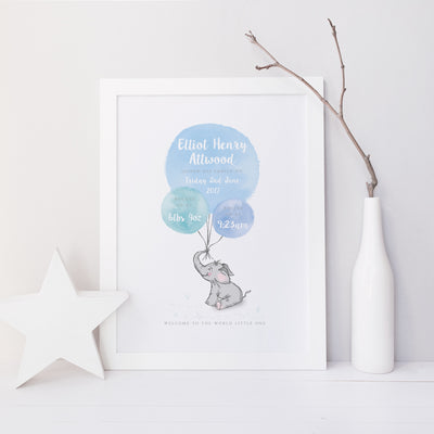 Welcome to the World - Elephant - Blue Watercolour Print