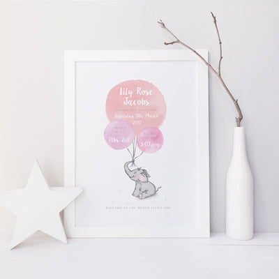 Welcome to the World - Elephant - Pink Watercolour Print