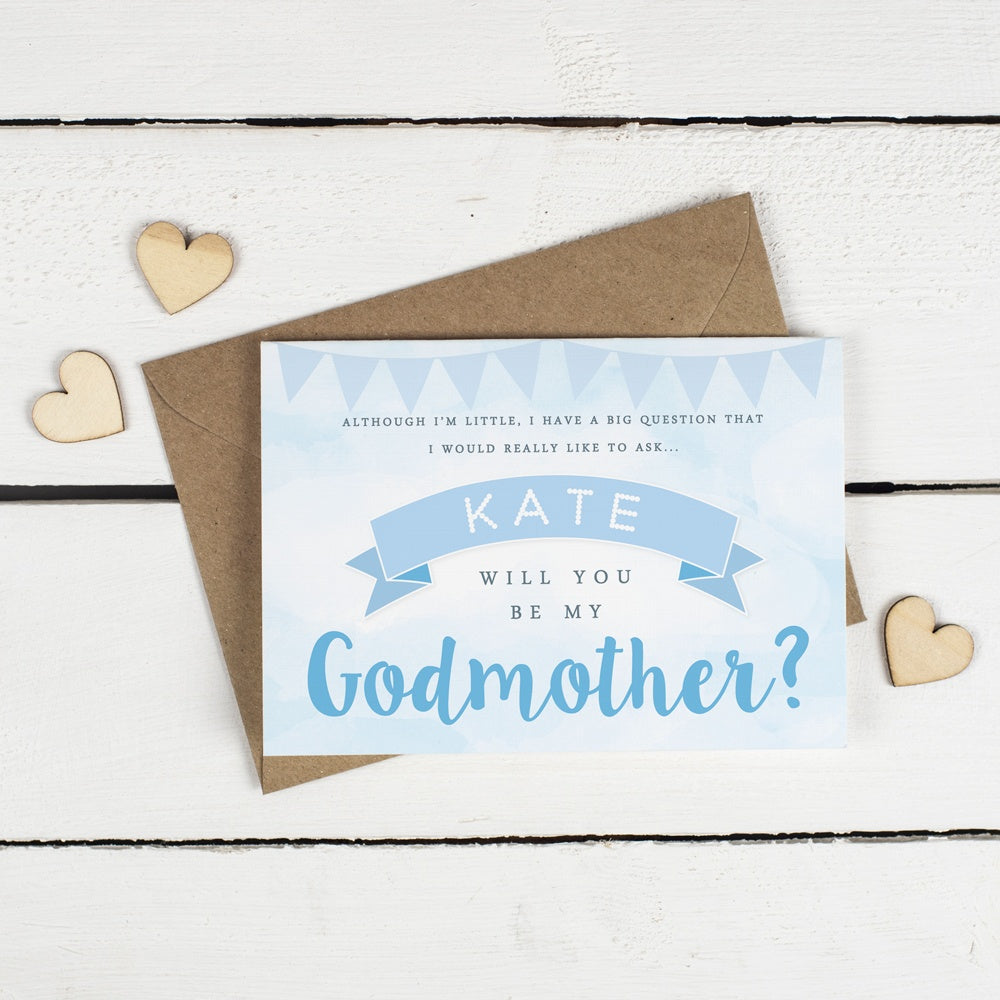 Personalised Will you be my Godfather or Godmother Card? Blue Clouds & Bunting!