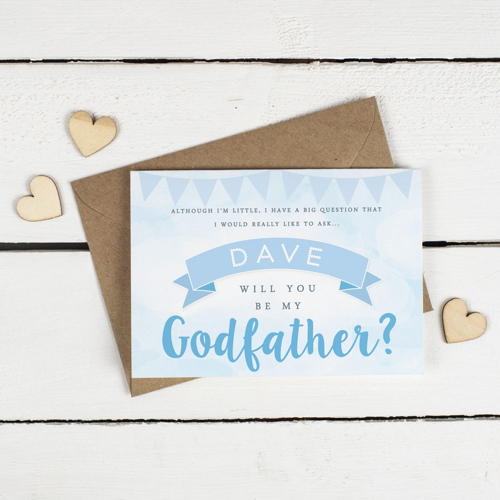 Personalised will you be my godfather or godmother card blue clouds personalised will you be my godfather or godmother card blue clouds bunting m4hsunfo