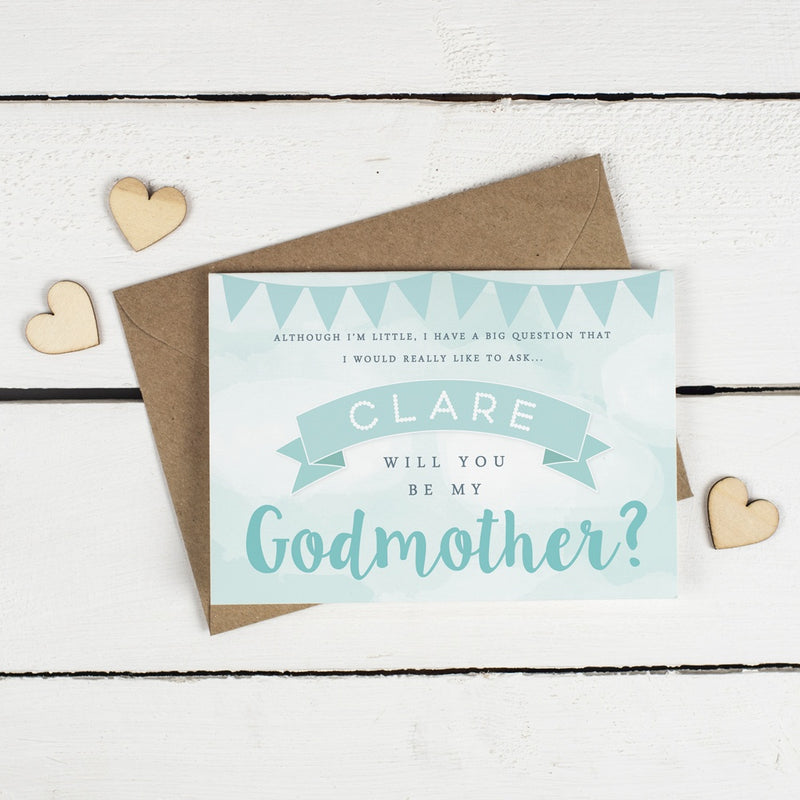 Personalised Will you be my Godfather or Godmother Card? Green Clouds & Bunting!