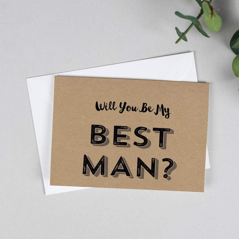 Will you be my Best Man? Retro Kraft Card