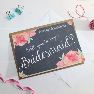 Will you be my Bridesmaid? Card 'Christine' Chalkboard