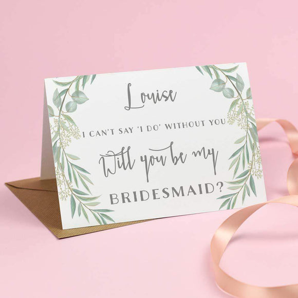 Cards - Will You Be My Bridesmaid? Card - Eucalyptus 'Aisling'