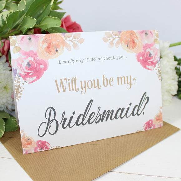 Cards - Will You Be My Bridesmaid? Card Watercolour Flowers 'Viola'