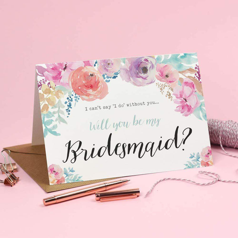 Cards - Will You Be My Bridesmaid? Card Watercolour 'Selena'