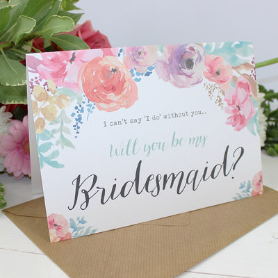 Will you be my Bridesmaid? Card Watercolour 'Selena'