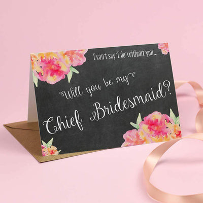 Will you be my Chief Bridesmaid? Card 'Christine' Chalkboard