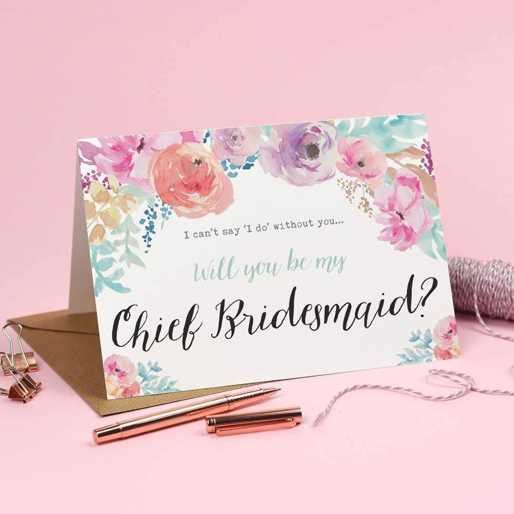 Will you be my Chief Bridesmaid? Card Watercolour 'Selena'